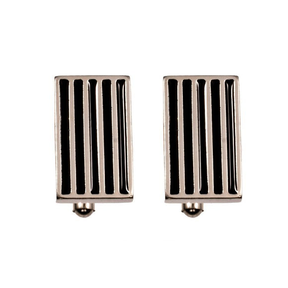 Men's Titanium & Black Lacquer Cuff links