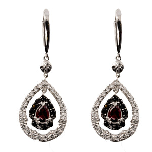Viola Sterling Silver  Rhodolite Black Spinel  and White Topaz  earrings