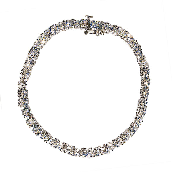 STERLING SILVER BRACELET SET WITH CUBIC ZIRCONIAS