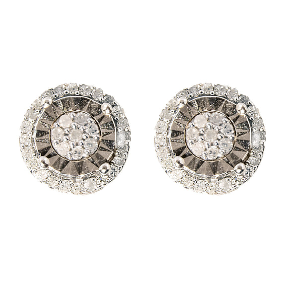 STERLING SILVER STUDS SET WITH DIAMONDS