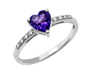 14 KT Gold Genesis Amethyst and Diamond  Ring