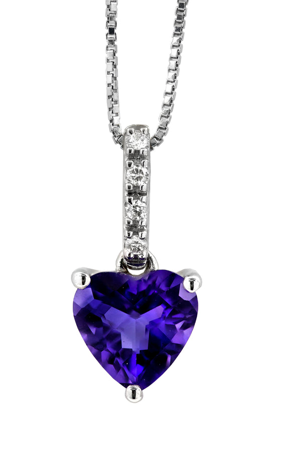 14 KT Gold Genesis Amethyst and Diamond Pendant