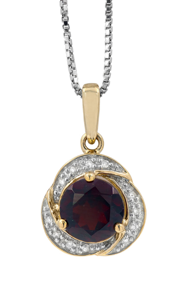 14 KT Gold Genesis Garnet  and Diamond Pendant