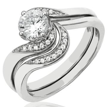 14 KT White Gold Solitaire Matching Diamonds Ring