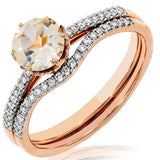 14 KT  Round Cut Ring with Diamonds
