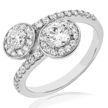 18K White Gold Engagement Halo Diamonds Semi-Mount Ring