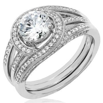 18K White Gold Diamonds Semi-Mount Ring