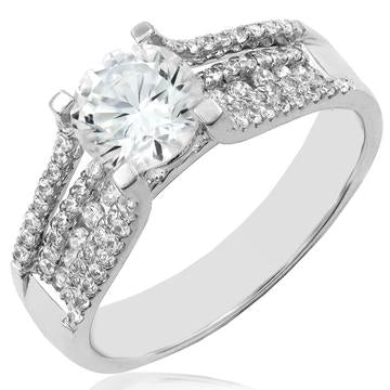 18 KT White Gold Diamonds Halo Semi-Mount Ring