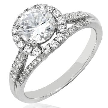 18K White Gold Diamonds Halo Semi-Mount Ring