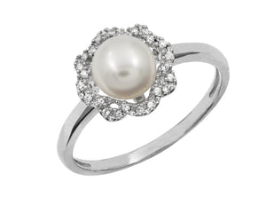 14 KT Gold Genesis Pearl and Diamond Ring