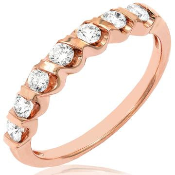 14 KT Rose Gold Diamonds Band Ring