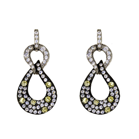 Sterling Silver Dangle earrings set with coloured Cubic Zirconia stones