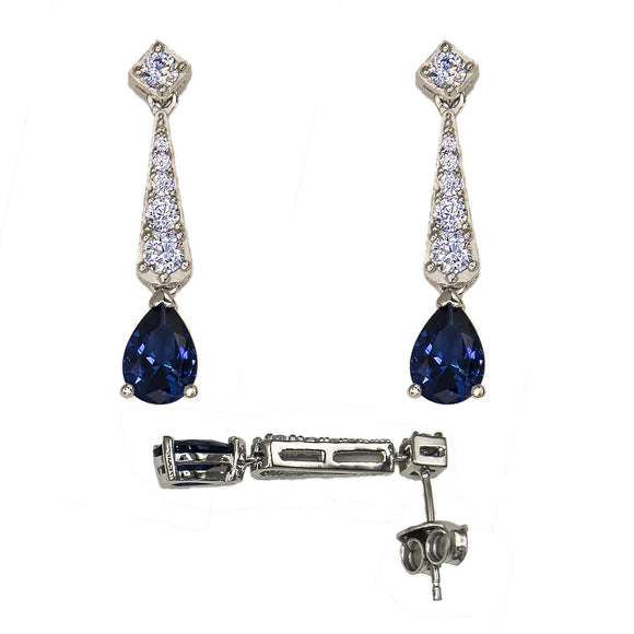 Sterling Silver Simulated Sapphire and Cubic Earrings