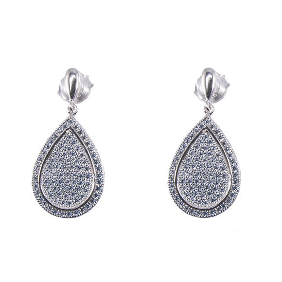 Sterling Silver Pave Cubic Zirconia Earrings