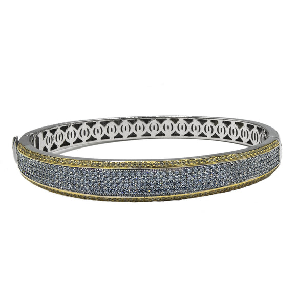 Sterling Silver Gold Plated Cubic Zirconia Bangle