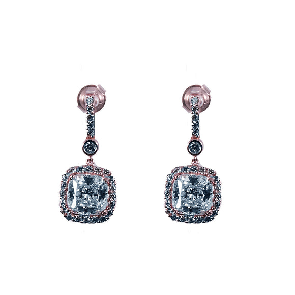Sterling Silver Rose Gold plated dangle Cubic Zirconia Earrings