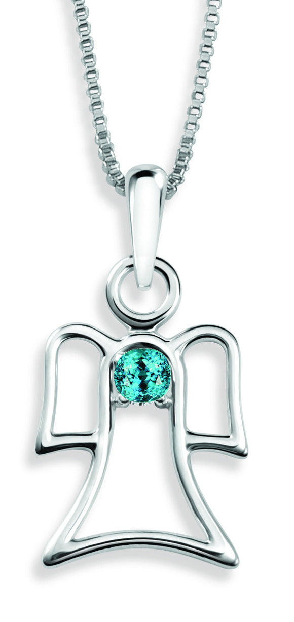 The Angel Pendant By Stan W. Tait with Swarovski Elements Birthstones -Birthstone March