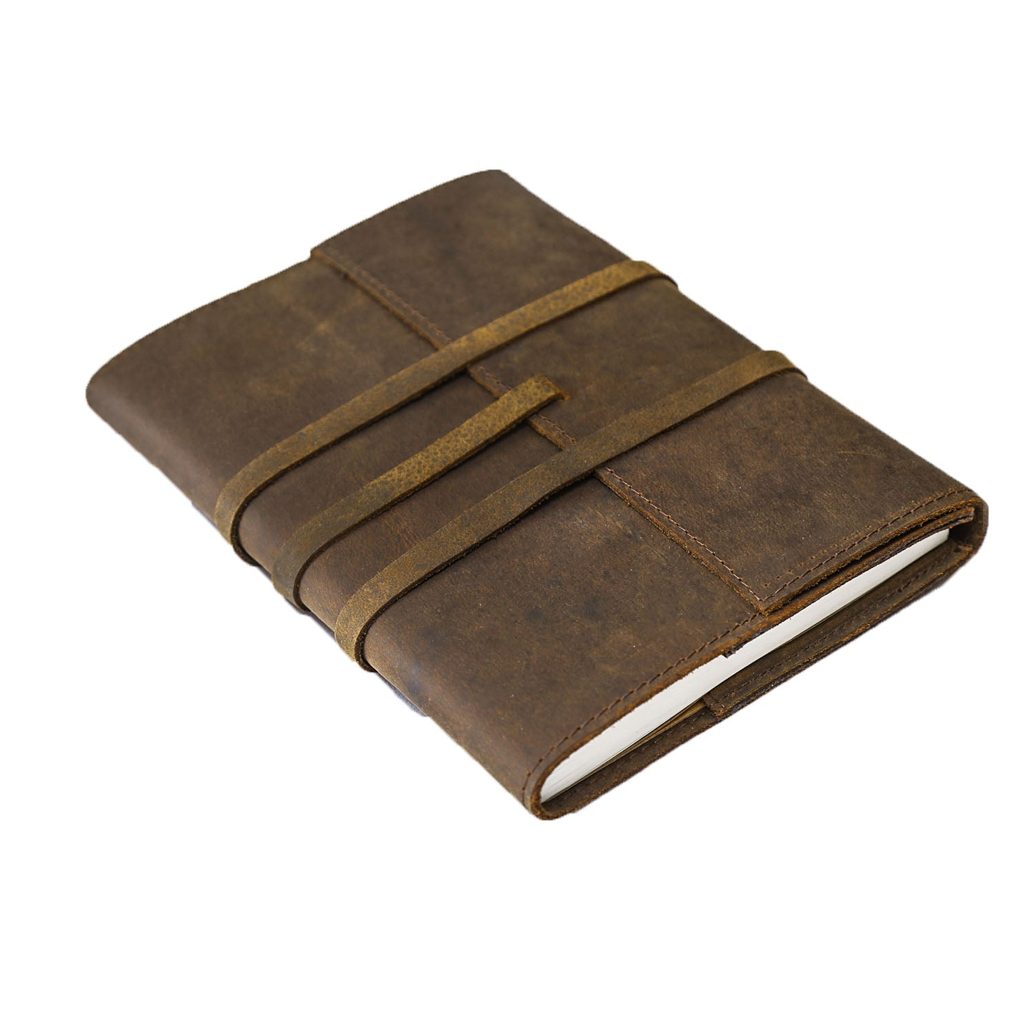 Very REFILLABLE LEATHER JOURNAL| Large 8 by 6 Pen holder and Pouches  TX12