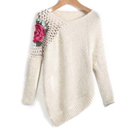 Young Women Hollow Handmade Woven Floral Pattern Irregular Sweater