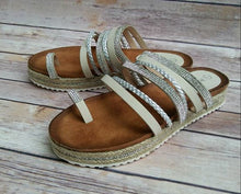 Load image into Gallery viewer, Barclay Rhinestone Espadrilles Thong Flat