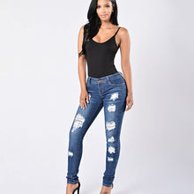 Load image into Gallery viewer, Women's Destructed High-Rise Skinny Jeans