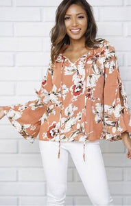 FLOWER PRINT SCOOP NECKLINE TIE SLEEVE CASUAL TOP