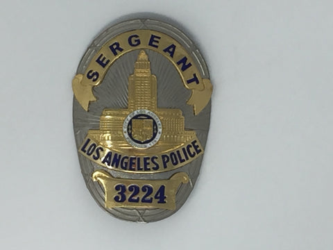 Costume Replica Sergeant Los Angeles Police Officer Badge #3224