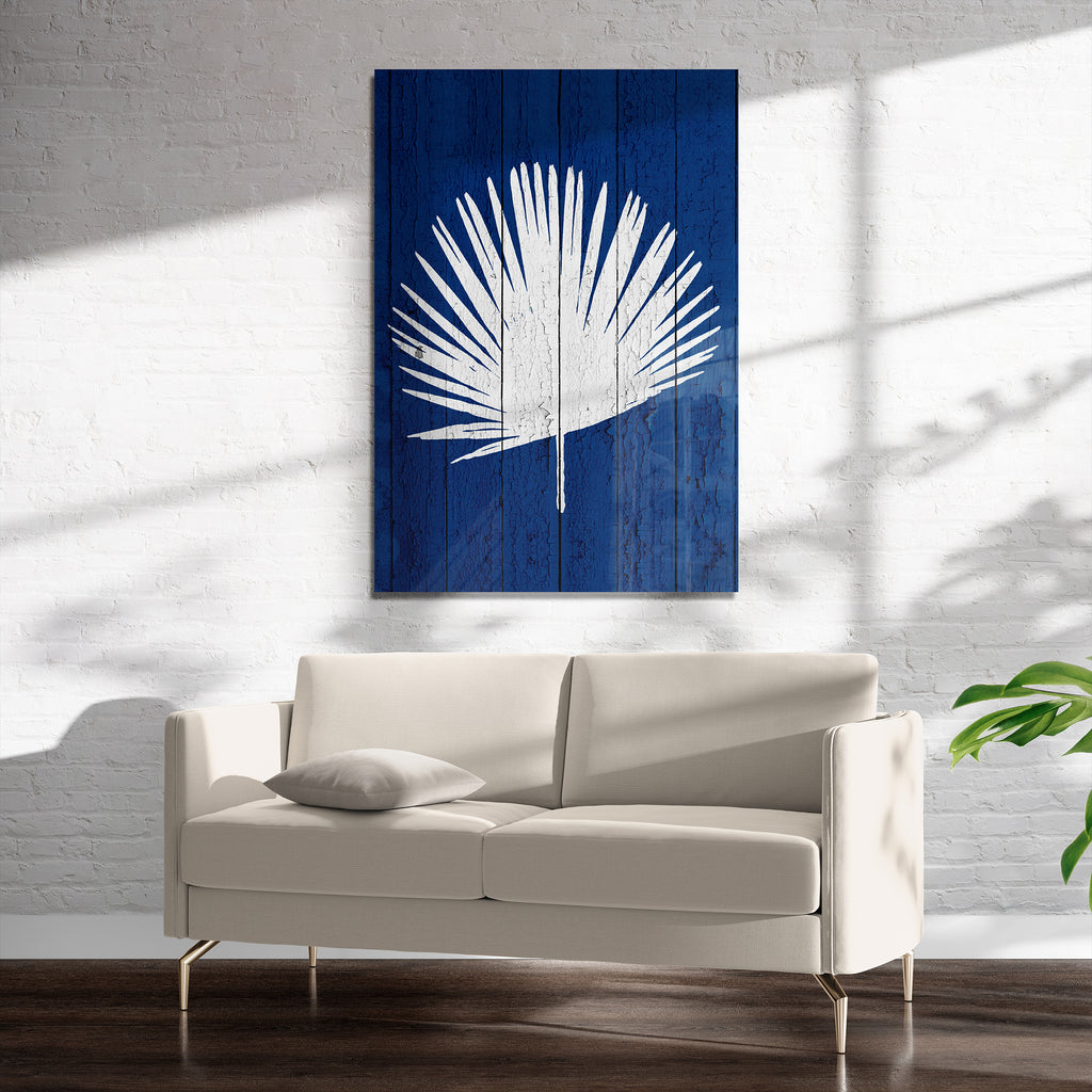 DARK BLUE PALM 1 Art on Acrylic By Catia Keck