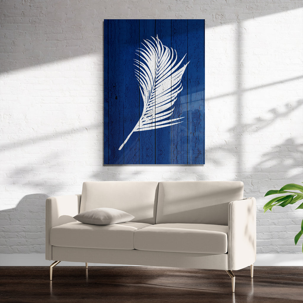 DARK BLUE PALM 2 Art on Acrylic By Catia Keck