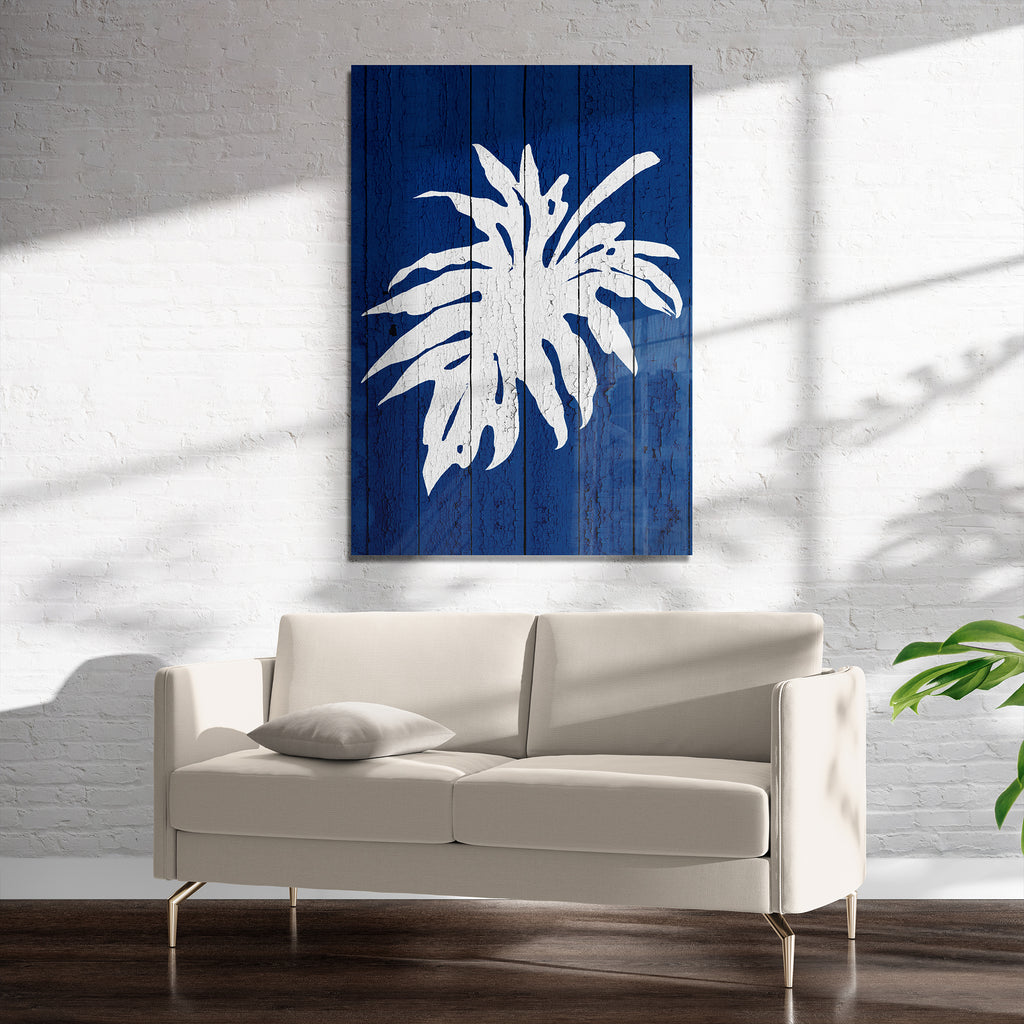 DARK BLUE PALM 3 Art on Acrylic By Catia Keck