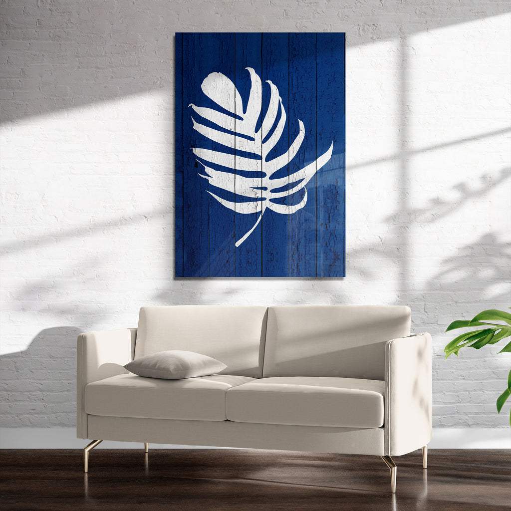 DARK BLUE PALM 4 Art on Acrylic By Catia Keck
