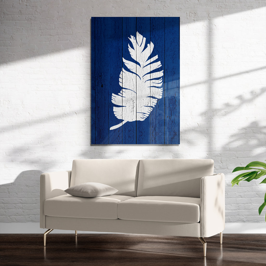 DARK BLUE PALM 5 Art on Acrylic By Catia Keck