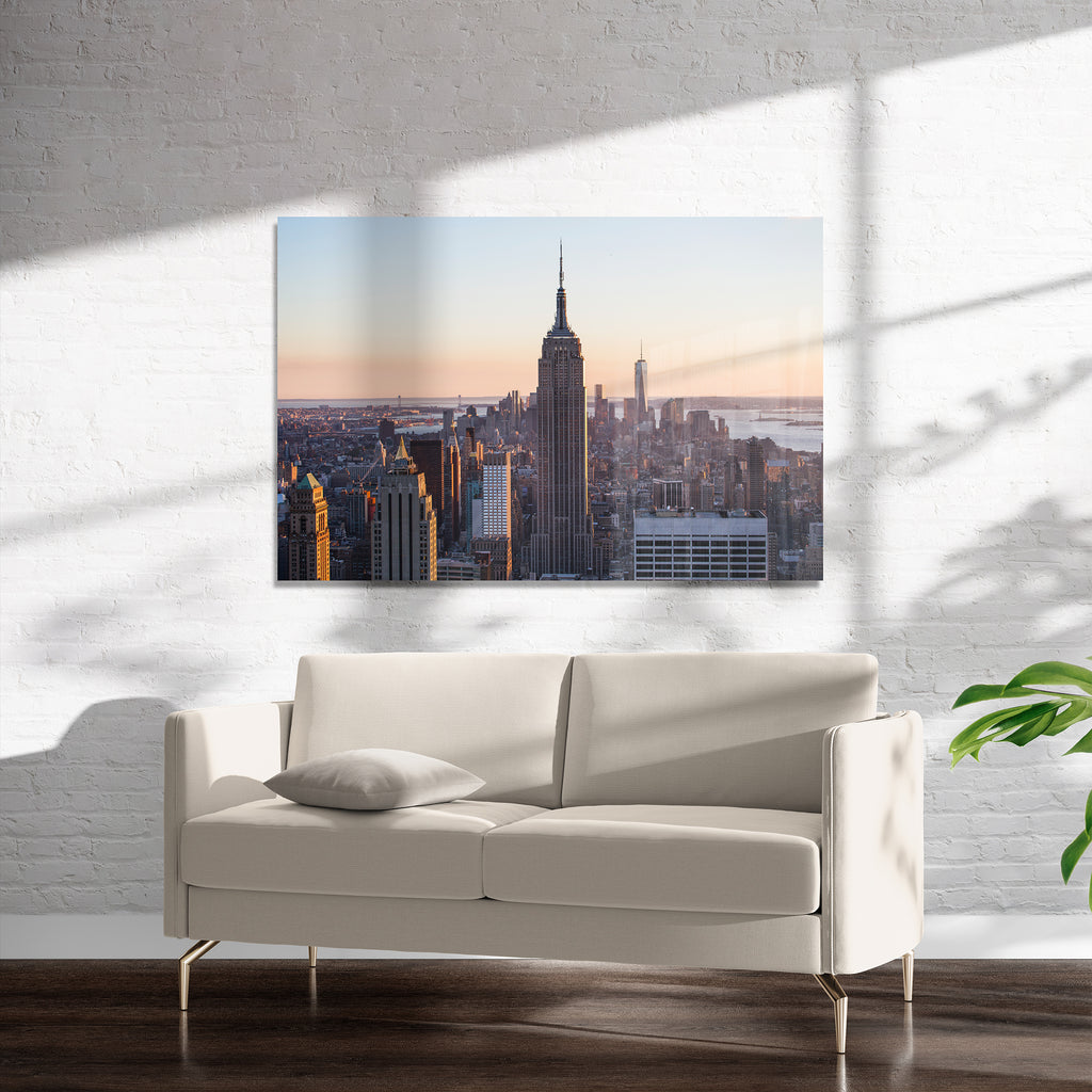 EMPIRE STATE AND MANHATTAN FROM TOP OF THE ROCK Art on Acrylic By David Phillips