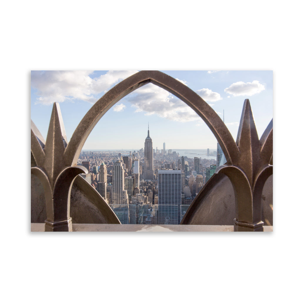 EMPIRE STATE FROM TOP OF THE ROCK, FRAMED Art on Acrylic By David Phillips