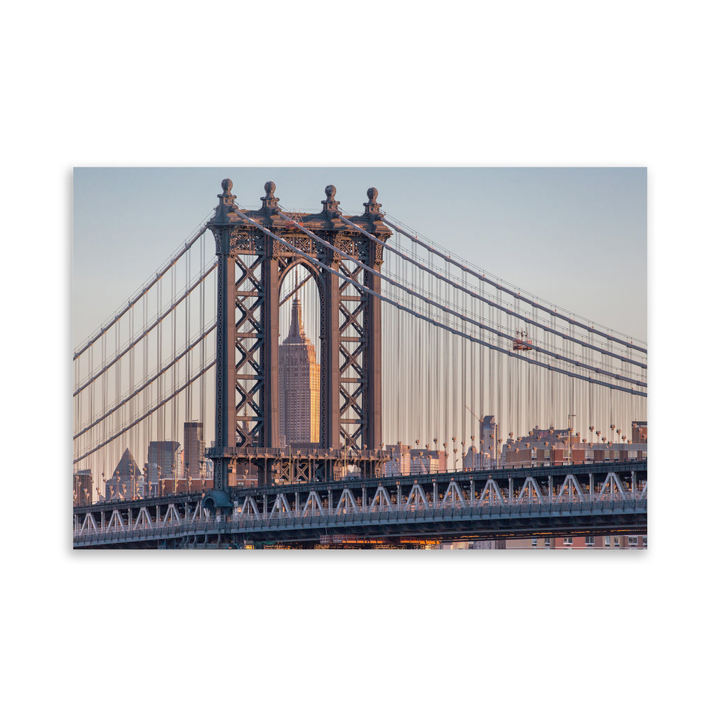 EMPIRE STATE THROUGH THE MANHATTAN BRIDGE Art on Acrylic By David Phillips