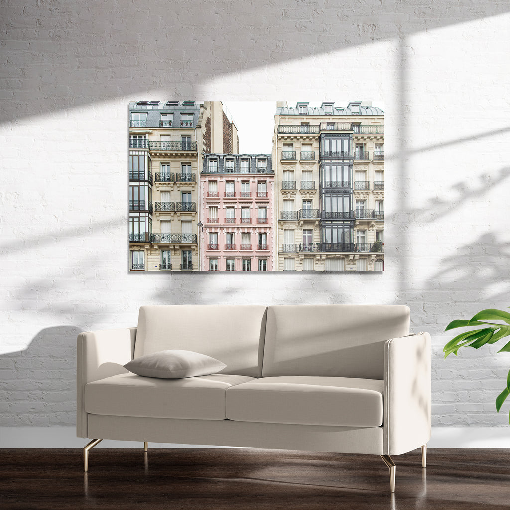 THE PINK APARTMENT BUILDING, PARIS Art on Acrylic By David Phillips