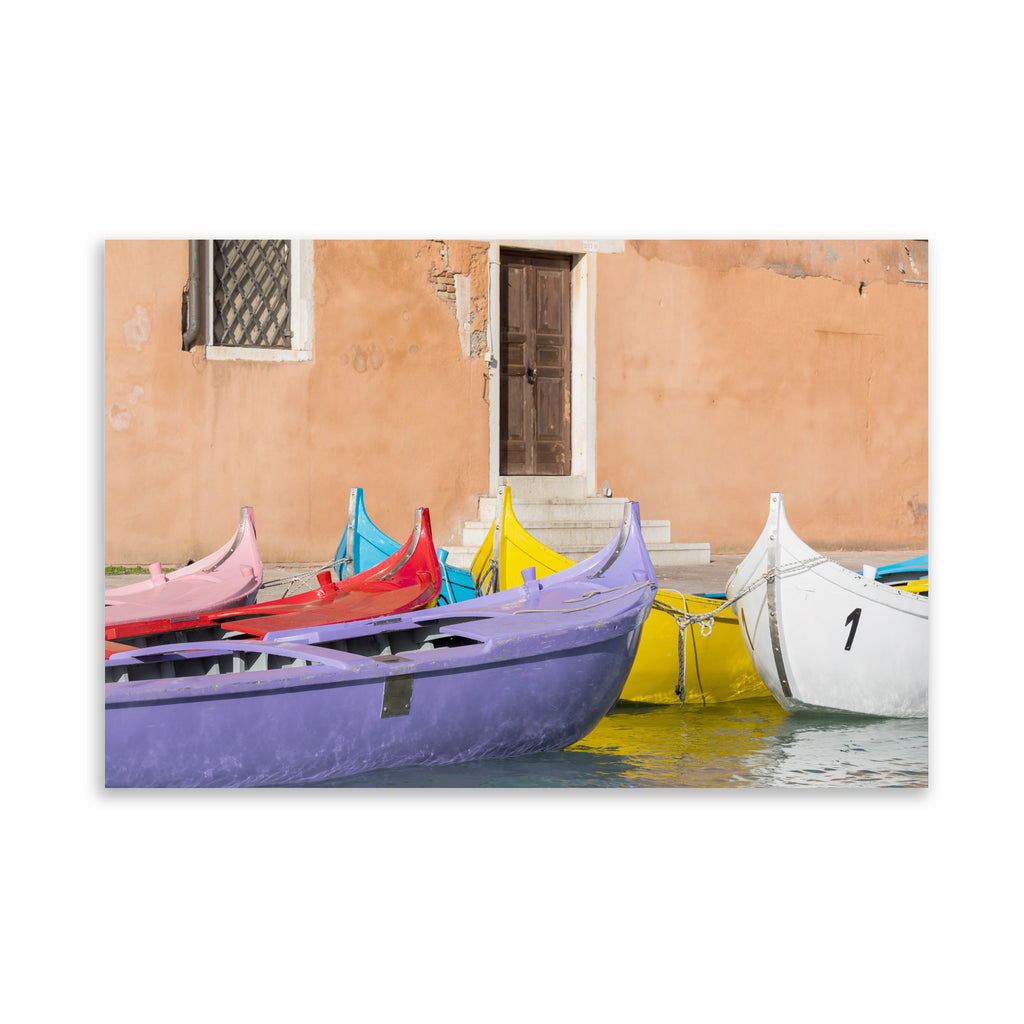 MULTICOLORED VENETIAN BOATS Art on Acrylic By David Phillips