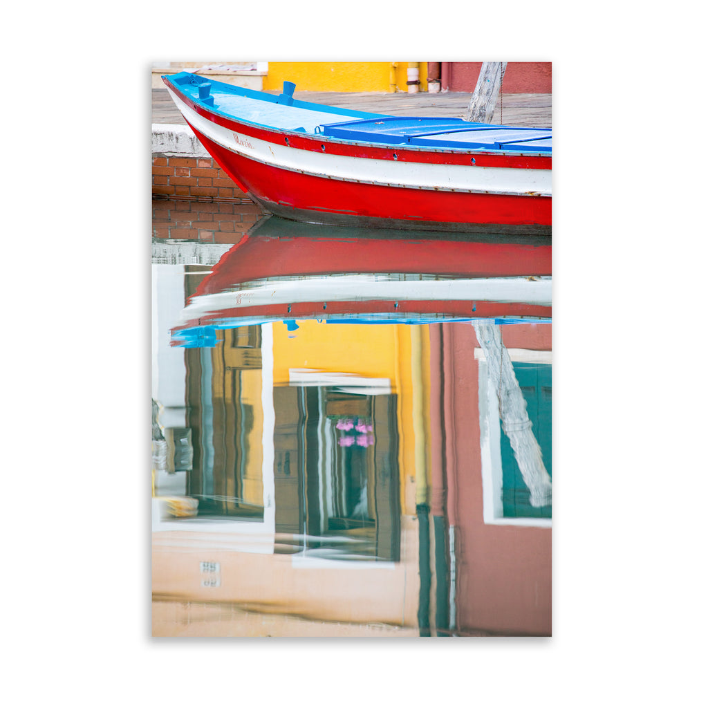 RED BOAT REFLECTION BURANO Art on Acrylic By David Phillips