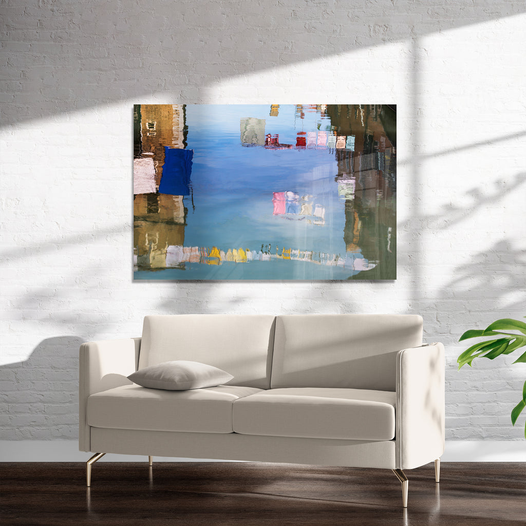 VENICE COLORFUL CLOTHESLINE REFLECTIONS  Art on Acrylic By David Phillips