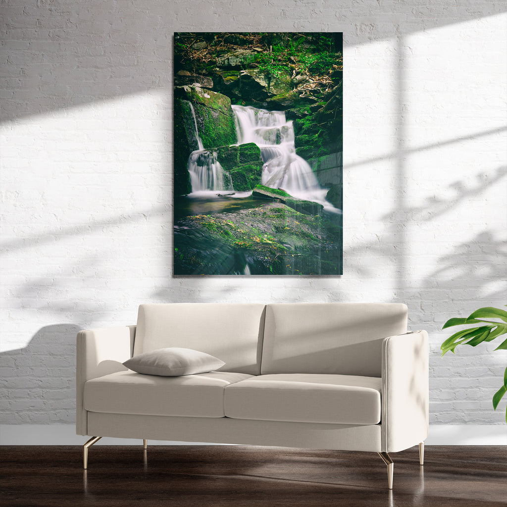 GREEN WATERFALL Art on Acrylic By Heather Rae