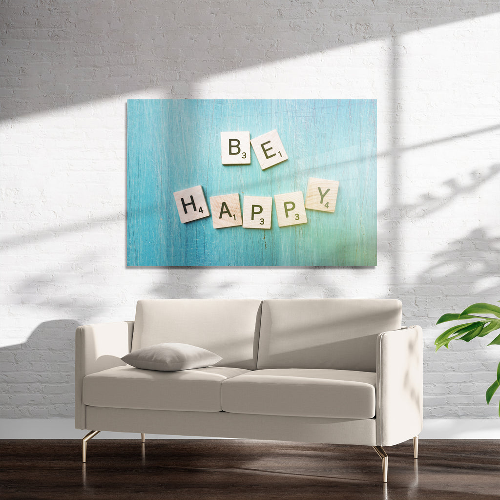 BE HAPPY Art on Acrylic By Olivia St. Claire