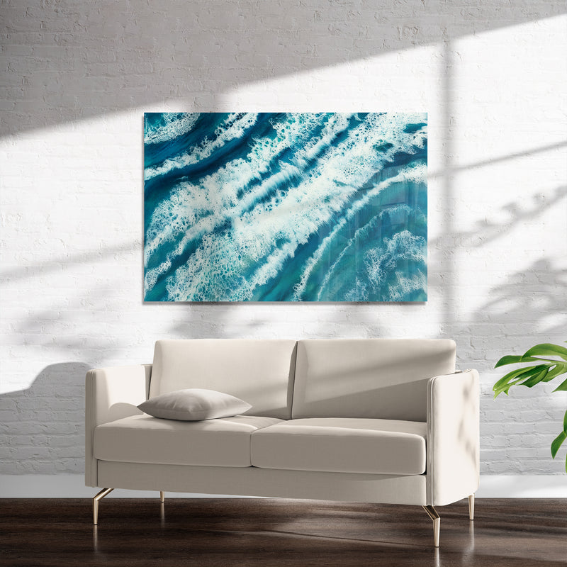 TROPICAL WAVES Art on Acrylic By Christina Twomey