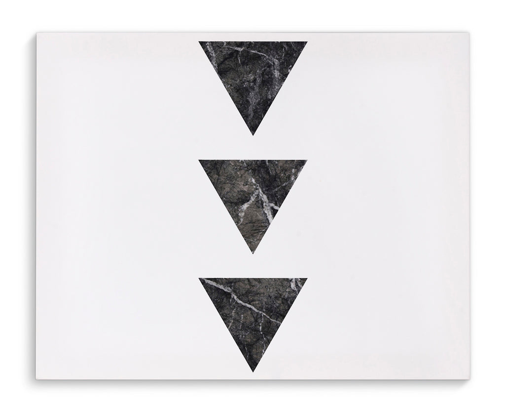 BLACK MARBLE THREE TRIANGLES Canvas Art By Michelle Parascandolo