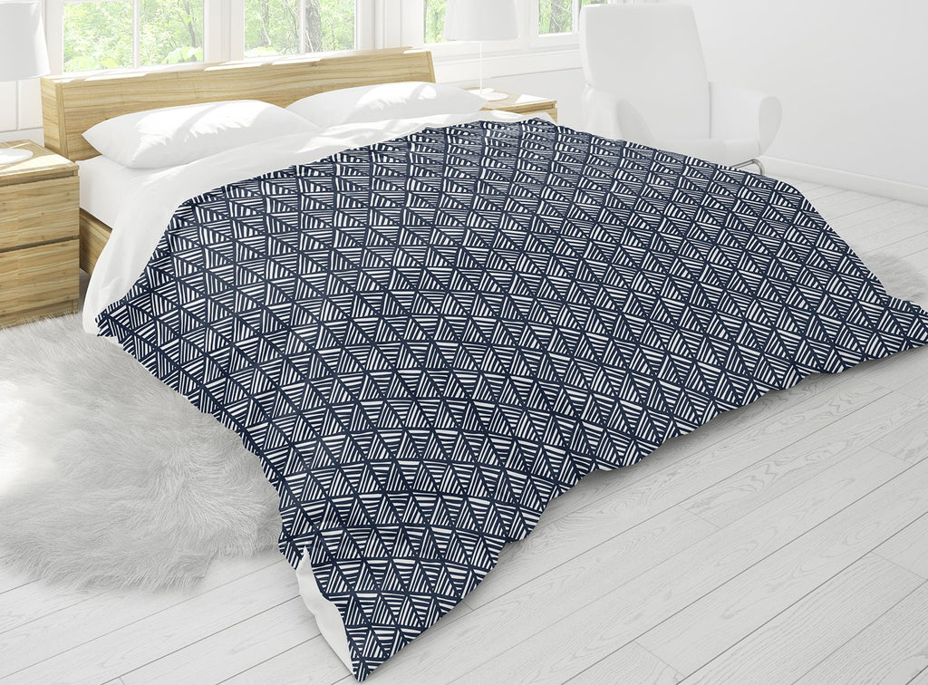 ABSTRACT LEAF NAVY Comforter Set By Becky Bailey