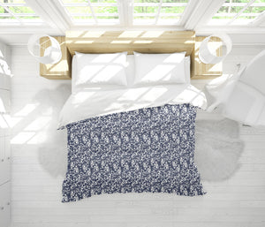 PLUMERIA NAVY Comforter Set By Terri Ellis