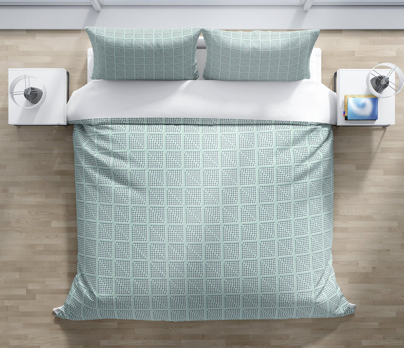 CHECK GEOMETRIC BLOCK PRINT MIST Duvet Cover Set By Becky Bailey
