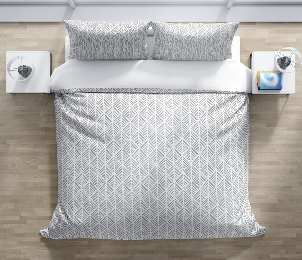 ABSTRACT LEAF GREY Duvet Cover Set By Becky Bailey