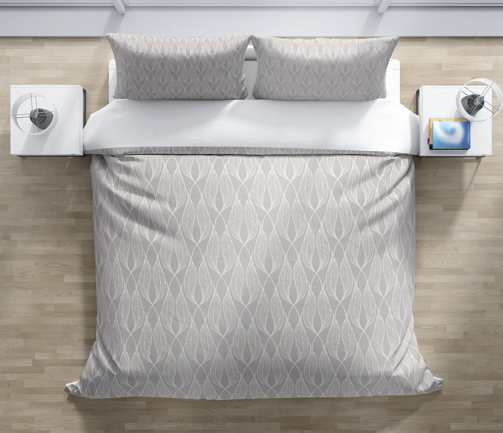 ALAINA LIGHT GREY Duvet Cover Set By Terri Ellis