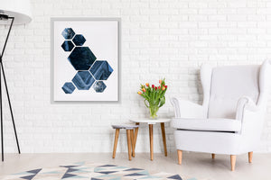 NORDIC SHAPES BLUE Framed Canvas By Honeytree Prints