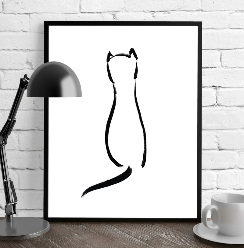 BLACK CAT Framed Giclee Print by Terri Ellis